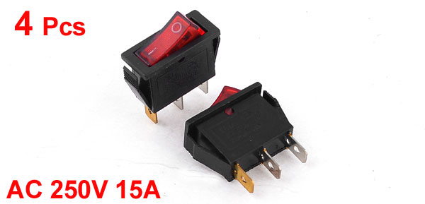 4Pcs SPST 2 Position Red Lamp Boat Rocker Switch 3 Pins AC 250V/15A