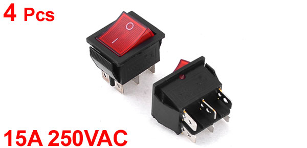 4 Pcs 15A 250VAC 2 Position 6 Pin Red Light ON/OFF DPDT Boat Rocker Switch
