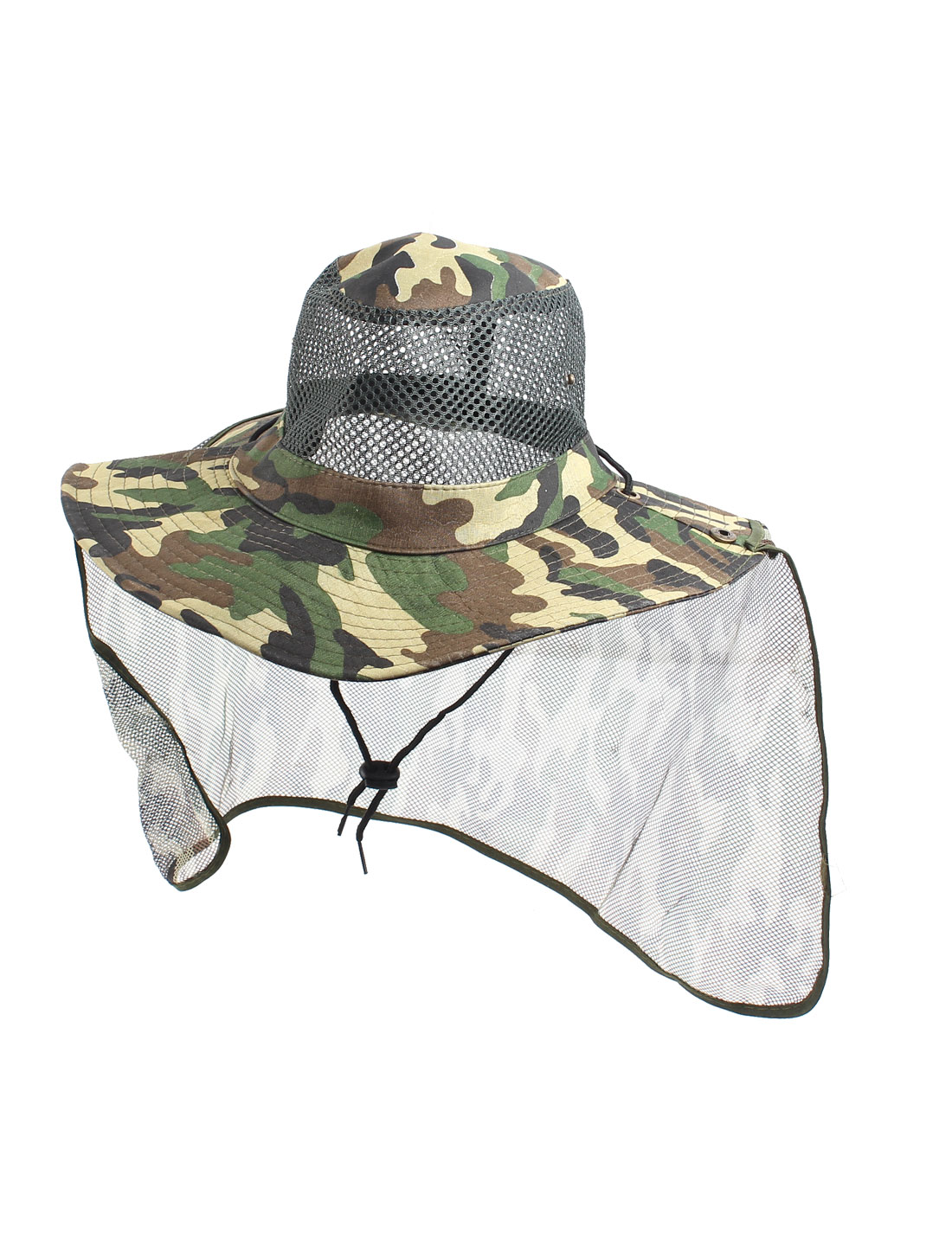 Bicycling-Camouflage-Print-Mesh-Flap-Design-Wide-Brim-Hat-Army-Green