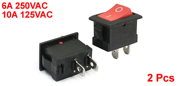 6A 250VAC 10A 125VAC Red Button SPST Snap in Mount Rocker Switch 2Pcs