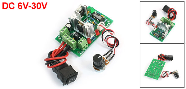 DC Motor Speed Control Switch Reversing 6V-30V 80W 2.5A w Potentiometer