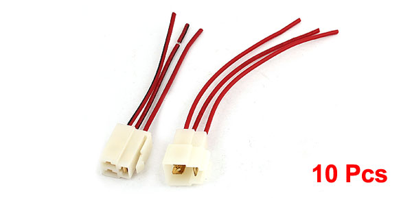 10 Pcs White Red Female Male 3 Pin Battery Wire Connector Adapter