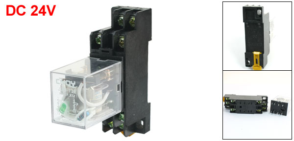 35mm DIN Rail DPDT 8Pin Green Light Electromagnetic Power Relay DC 24V 5A