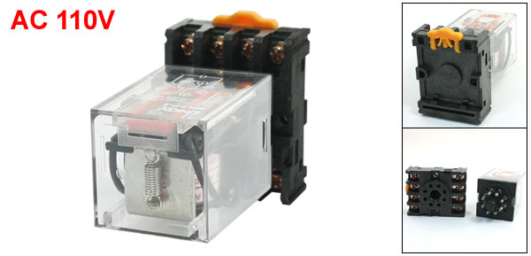 MK2P-I AC 110V Coil 8Pin DPDT Power Relay with Plug-in Terminal Socket