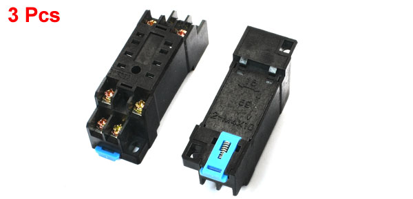 3Pcs 35mm DIN Rail 8Pin Power Relay Socket Base DTF08A for MY2NJ HH52P