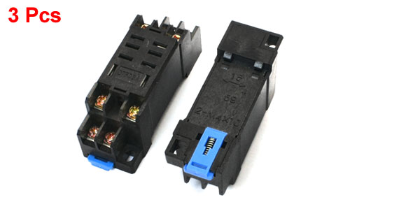 3 Pcs 35mm DIN Rail Track 8 Pins Power Relay Socket Base DTF08A