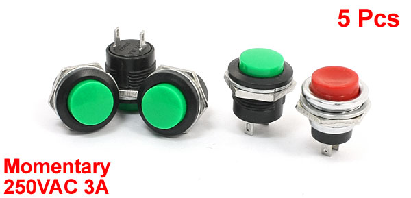 5 Pcs Red Green Round Flat Button Momentary SPST Pushbutton Switch 250VAC 3A