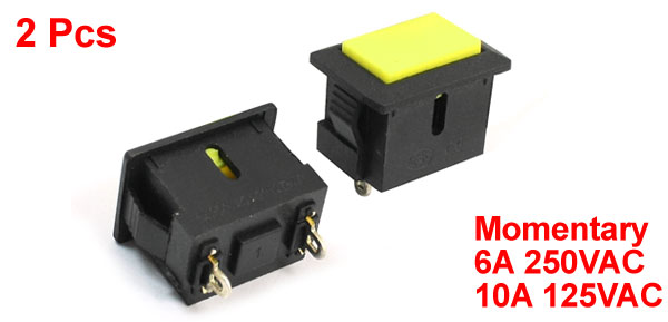 2 Pcs Rectangle Button SPST Momentary Action Snap in Pushbutton Switch