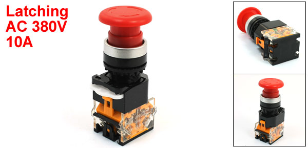 Red Mushroom Head DPST Latching Emergency Stop Push Button Switch 380VAC 10A
