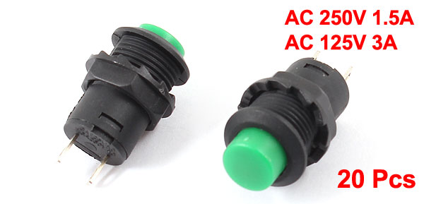 20 Pcs 3A/125VAC 1.5A/250VAC Self Lock 1NO 1NC Round Green Pushbutton Switch
