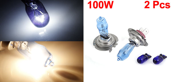 2 Pcs Xenon White Fog Lights Headlamp Driving Bulbs 100W H7 for Car