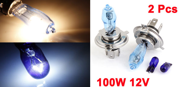 Pair H4 12V 100W White Car Halogen Daytime Light Bulb Headlight Lamp