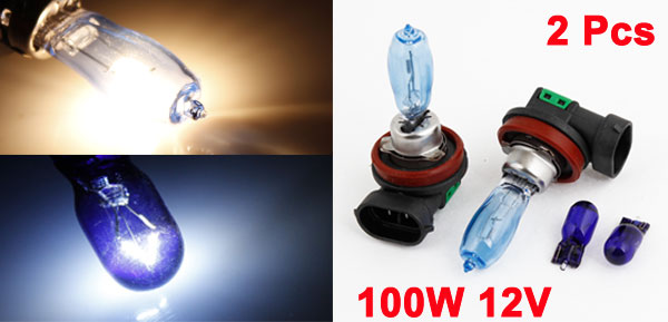 Pair 100W H8 White LED Xenon DRL Headlight Fog Light Driving Lamp Spare Bulb