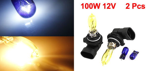 2 Pcs 100W 12V Motorcycle HID Xenon 9006 Auto Headlight Fog Bulb Amber internal