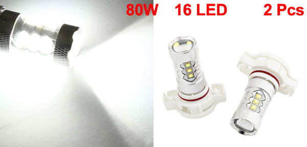2 Pcs 12V 80W White H16 16 LED Car Daytime Running Fog Light Bulb Driving Lamp