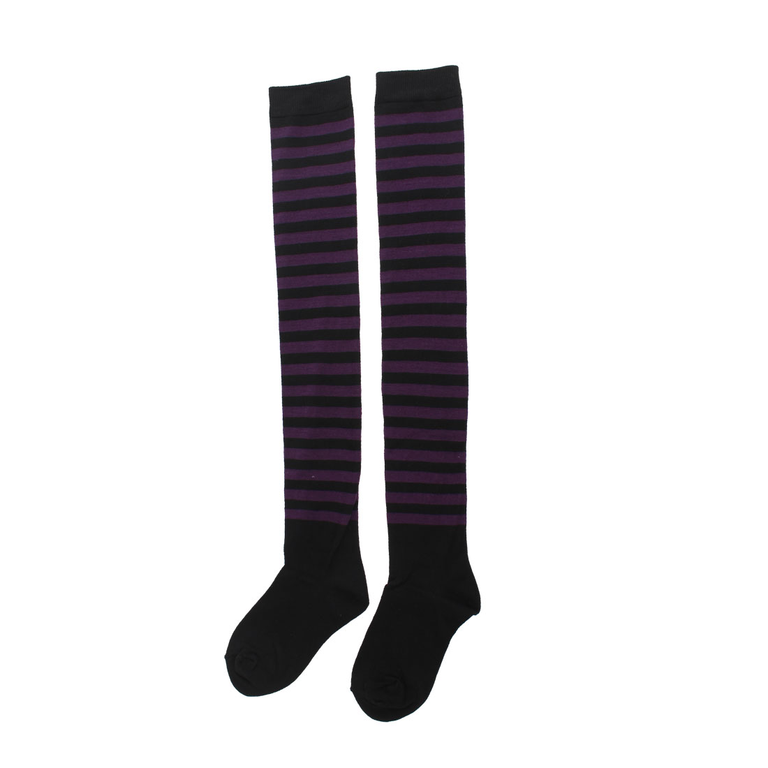 Women Knee High Two Tone Striped Knitted Socks 3-pack