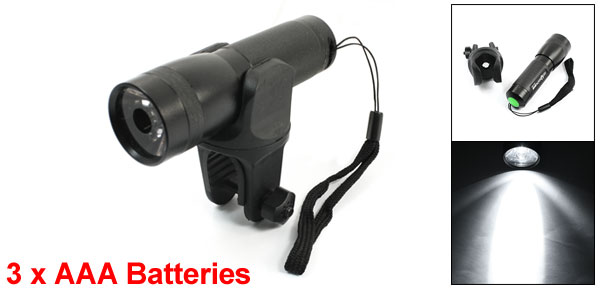 Outdoor Black Metal Shell Flashlight Torch w Plastic Adjustable Clamp