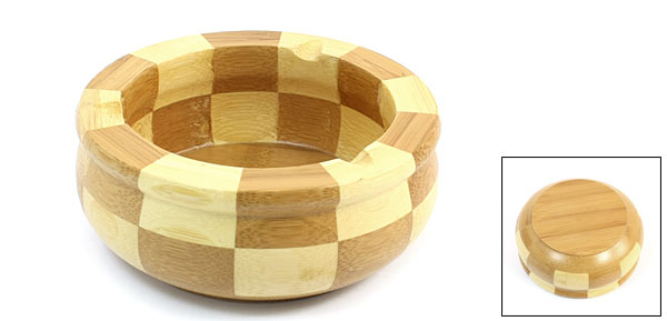 Home Office Wood Color Wooden Round Shape Cigarette Ash Holder Ashtray
