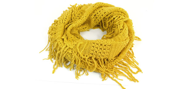 Women Soft Warm Tassels Decor Knitted Loop Scarf Neckerchief Yellow