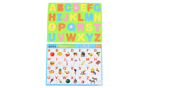 Children Foam A-Z English Letters Education Magnetic Jigsaw Puzzle Mat Green