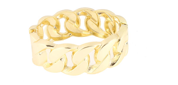 Ladies Girls Gold Tone Metal Wrist Hinged Wide Bracelet Bangle 0.9