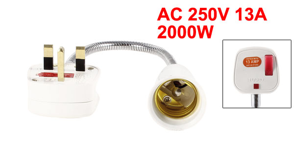 UK Plug 250V 13A to LED Lamp Socket Base Holder E27 Adapter Converter