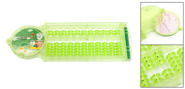 Kids Clear Green Plastic Frame 11 Rods Abacus Geometry Learning Tool