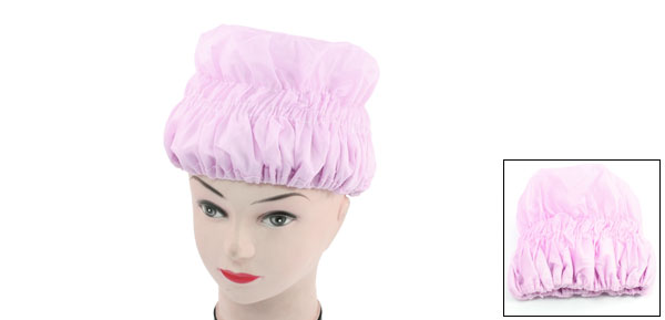 Woman Pink Waterproof Microfiber Lined Hair Drying Shower Cap