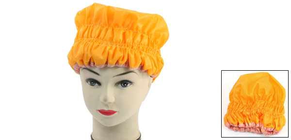 Lady Orange Waterproof Cloth Microfiber Lining Hair Dring Shower Cap