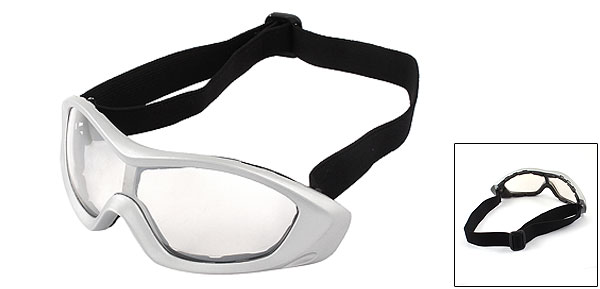 Cycle Racing Anti-Fog Silver Tone  Frame Uni Clear Lens Goggles