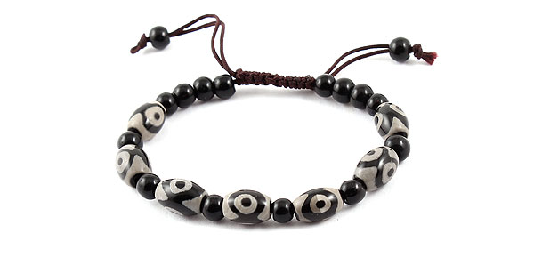 Woman Retro Style Bead Decor Adjustable Black Gray Braided Bracelet