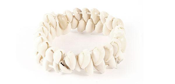 Women Dual Line Elastic Natural Seashell Cowry Bracelet 22cm Girth