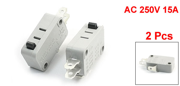 2Pcs AC250V 15A NO+NC SPDT Momentary Actuator Push Button Type Micro Switch