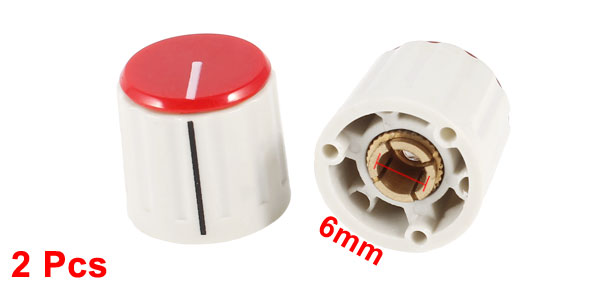 Beige Plastic Shell 6mm Shaft Dia Potentiometer Rotary Knobs 2 Pcs