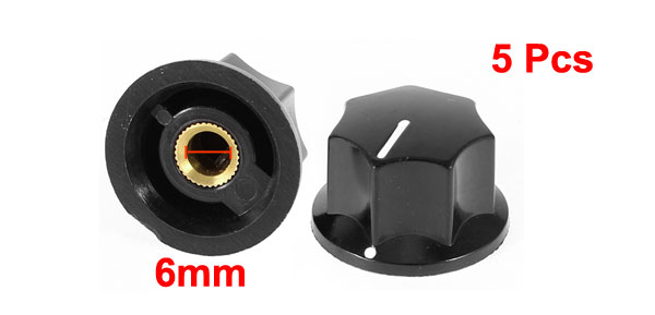 6mm Hole Dia Plastic Shell Potentiometer Rotary Knobs Grip 5 Pcs