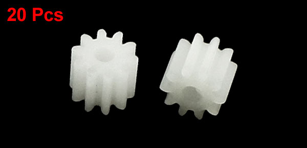 20Pcs 6mm x 2mm 10 Teeth Plastic Gear Wheel for Toy Car Motor Gearbox Shaft