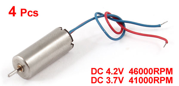4 Pcs DC 4.2V 3.7V 46000RPM 41000RPM Mini Coreless Motor for DIY RC Aircraft