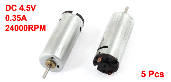 5 Pcs DC4.5V 0.35A 24000RPM Cylindrical Mini Micro Motor for RC Airplane Toy