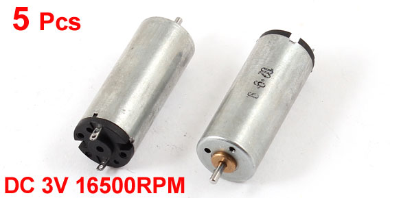 5 Pcs DC 3V 16500RPM Rotary Speed Cylindrical Mini Motor for RC Model Toy