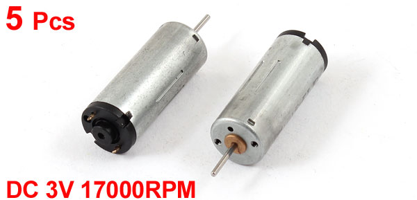 5 Pcs DC 3V 17000RPM Rotary Speed Cylindrical Mini Motor for RC Model Toy Raider Buggies