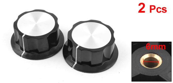 2 Pcs Black Silver Tone 36mm Top Rotary Knobs for 6mm Dia Shaft Potentiometer