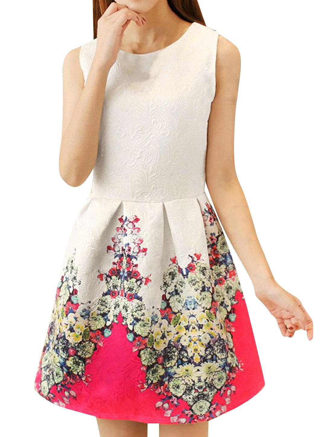 Ladies-Sleeveless-Gathered-Detail-Sweet-Textured-Tank-Dress