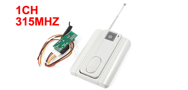DC 12V 1CH Wireless Remote Control Switch Transmitter Receiver Module Gray