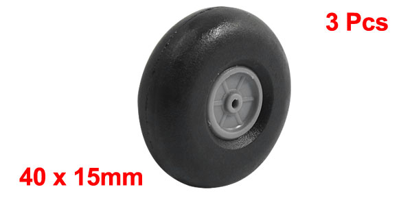 3pcs RC Airplane Parts Plastic Hub Rubber Spoke Wheel Tire 40mmx15mm