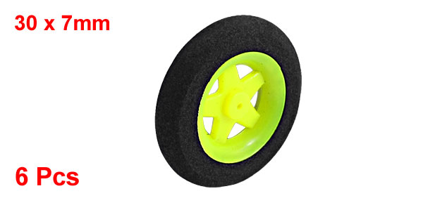 6pcs RC Model Aircraft Landing Sponge Wheel D30mm H7mm d1mm Black Lime