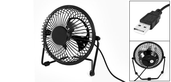 Adjustable Angle Black Metal Shell Mini USB 2.0 Fan for PC Computer