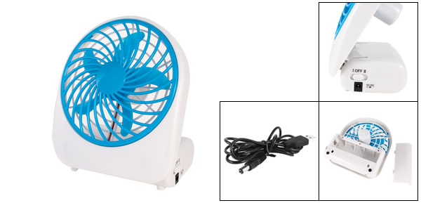 White Blue Plastic 5 Blades USB 2.0 Fan Cooler for Computer Laptop