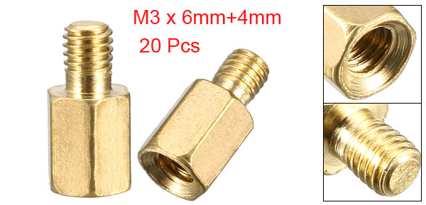 20 Pcs PC Case PCB Motherboard Brass Standoff Hexagonal Spacer M3 6+4mm