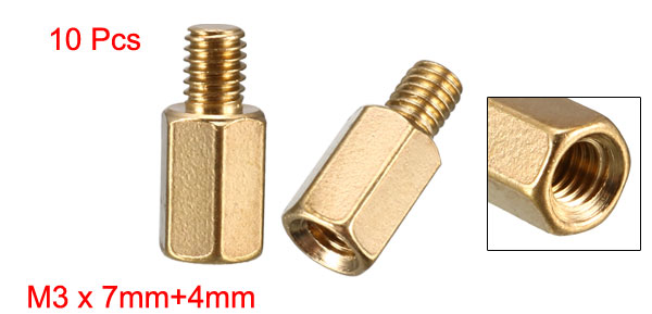 10 Pcs PC PCB Motherboard Brass Standoff Hexagonal Spacer M3 7+4mm