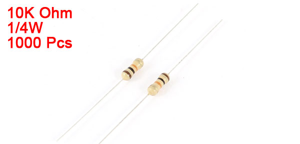 1000 Pcs Axial Lead Carbon Film Resistor 10K Ohm 5% Tolerance 1/4W